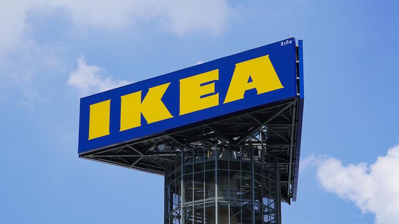 A large IKEA sign