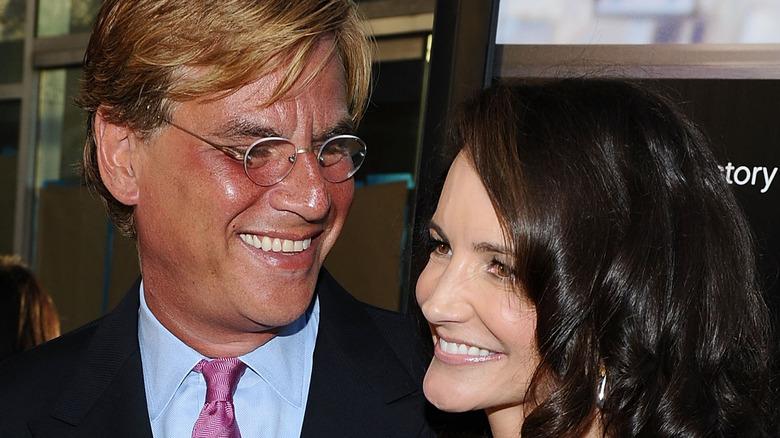 Aaron Sorkin and Kristin Davis at an event