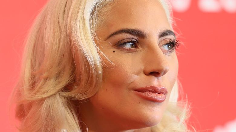 Lady Gaga smirking