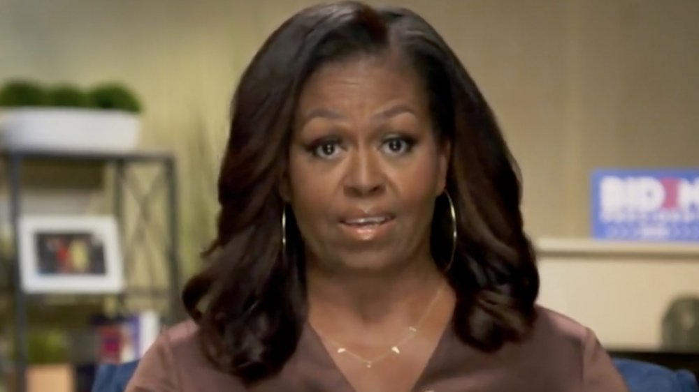 Michelle Obama delivering speech at the DNC