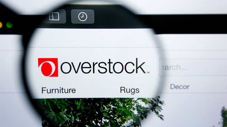 Overstock logo on computer screen