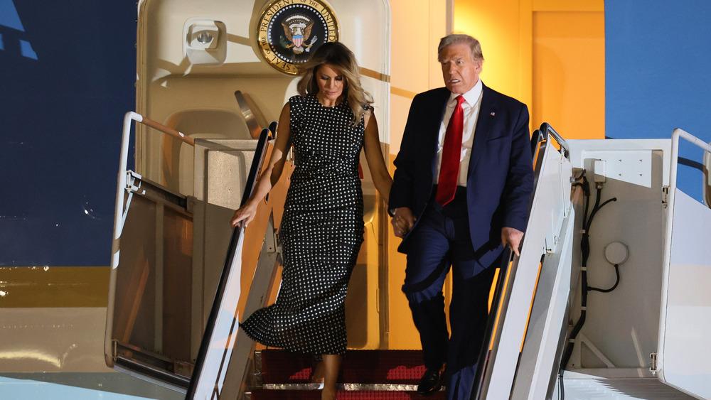 Donald Trump and Melania Trump exiting Air Force One