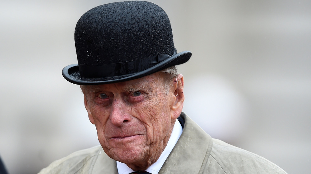 Prince Phillip in a bowler hat