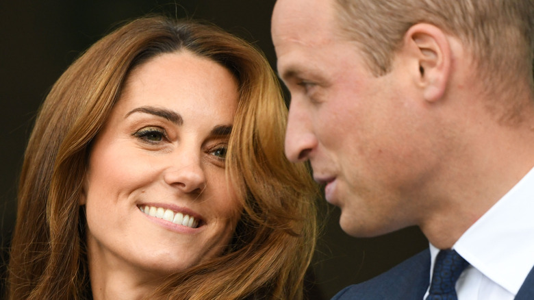 Kate Middleton and Prince William speaking
