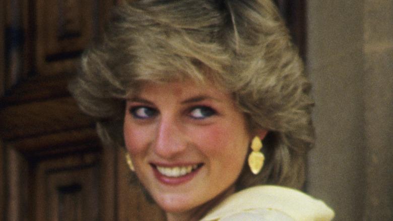 Princess Diana turning and smiling