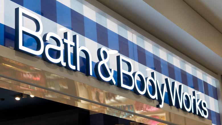 Bath and Bodyworks storefront sign.