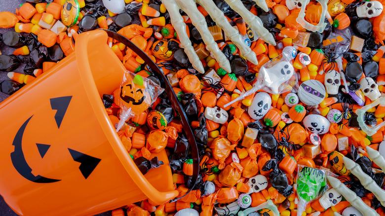 Halloween candy with pumpkin bucket