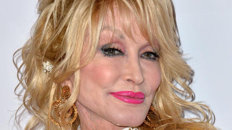 Dolly Parton pink lipstick