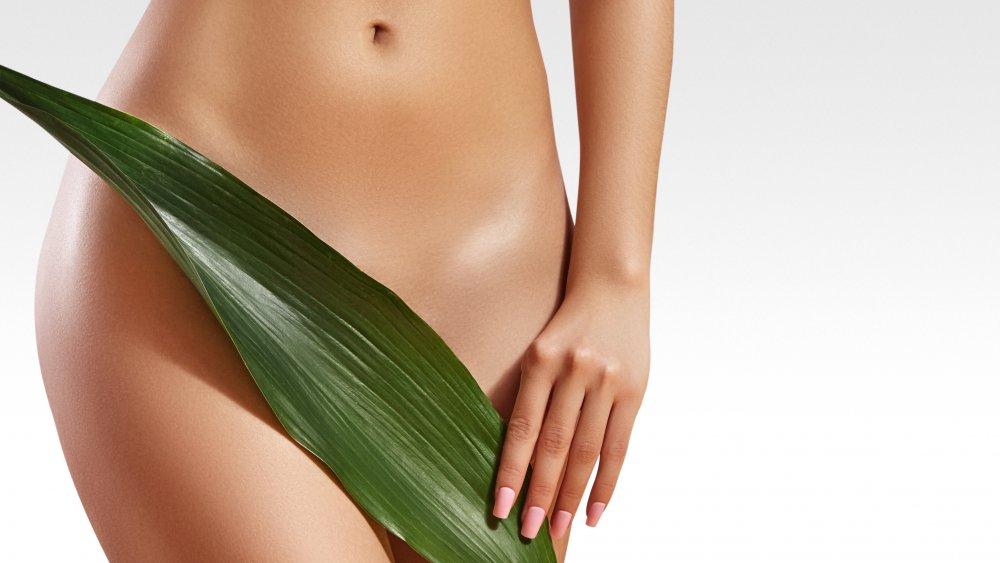 Woman hiding bikini line