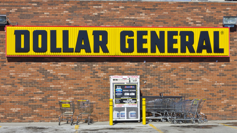 Brick building with a yellow Dollar General sign.