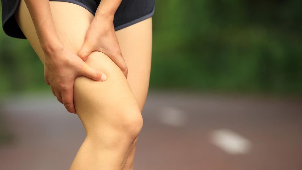 Woman's leg twitching