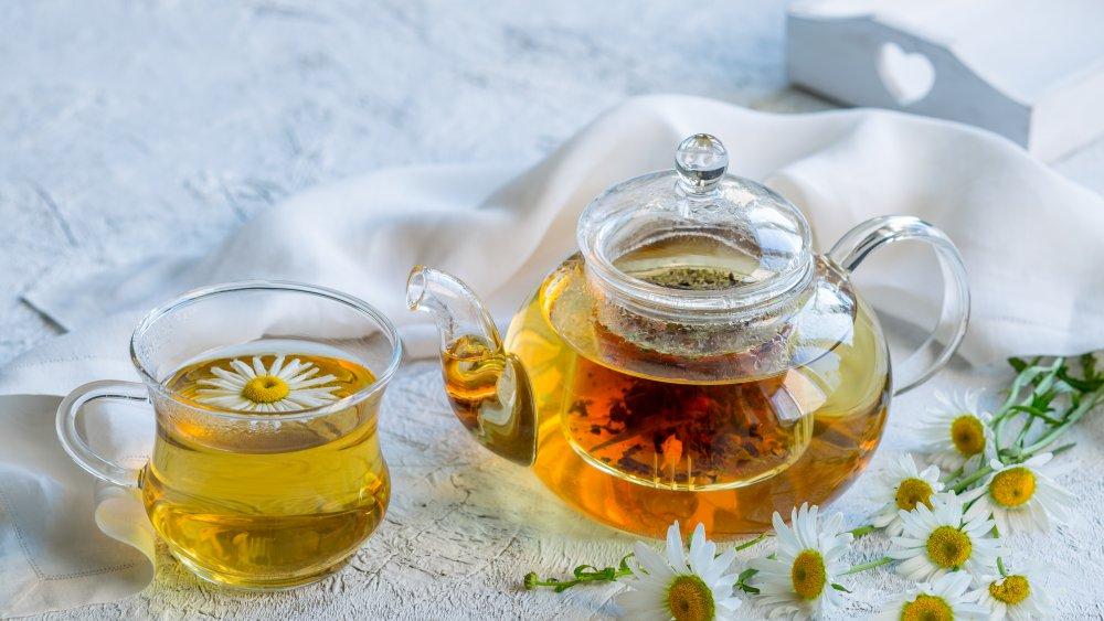 Chamomile tea brewing