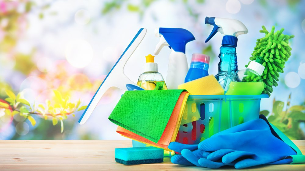 basket of household cleaners