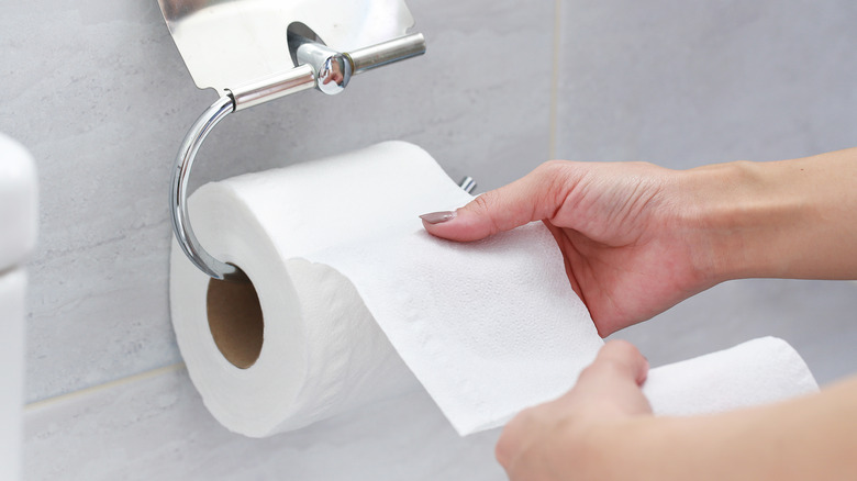 toilet paper over