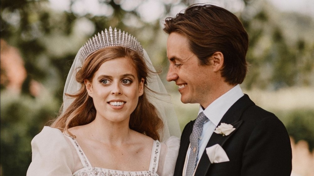 Princess Beatrice in wedding tiara with husband