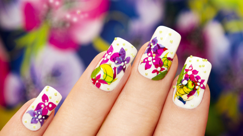 nail art with floral stickers