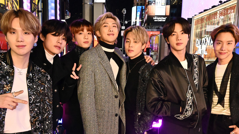 BTS pose at an event