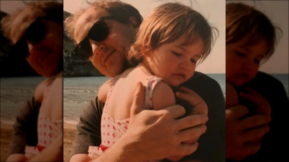 Lily James as a girl with her father