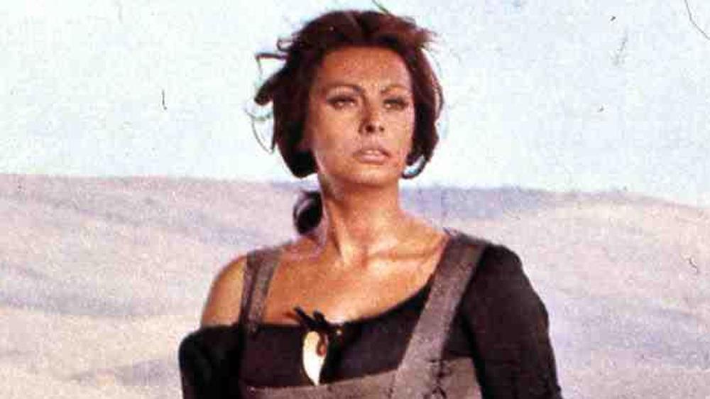 Sophia Loren in an archival movie photo, looking forward