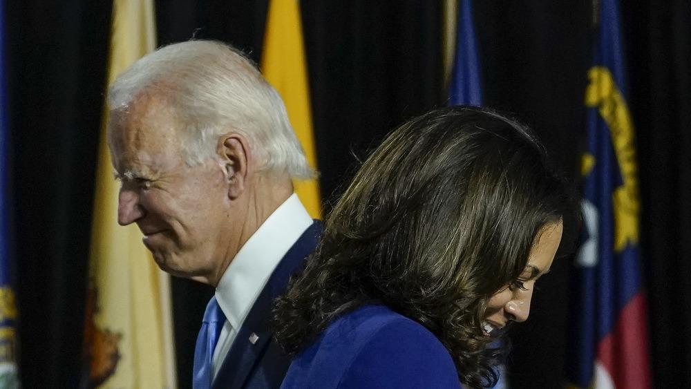 Kamala Harris laughing with Joe Biden