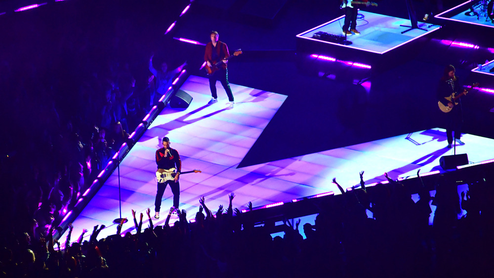 Maroon 5 performing during 2019 Super Bowl Halftime Show