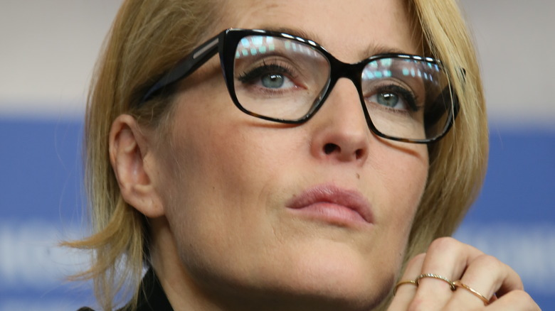 Gillian Anderson wearing large glasses