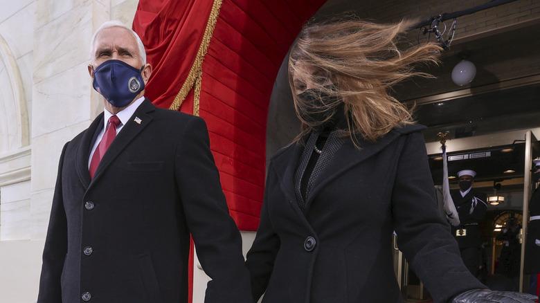 Mike and Karen Pence at Biden inauguration