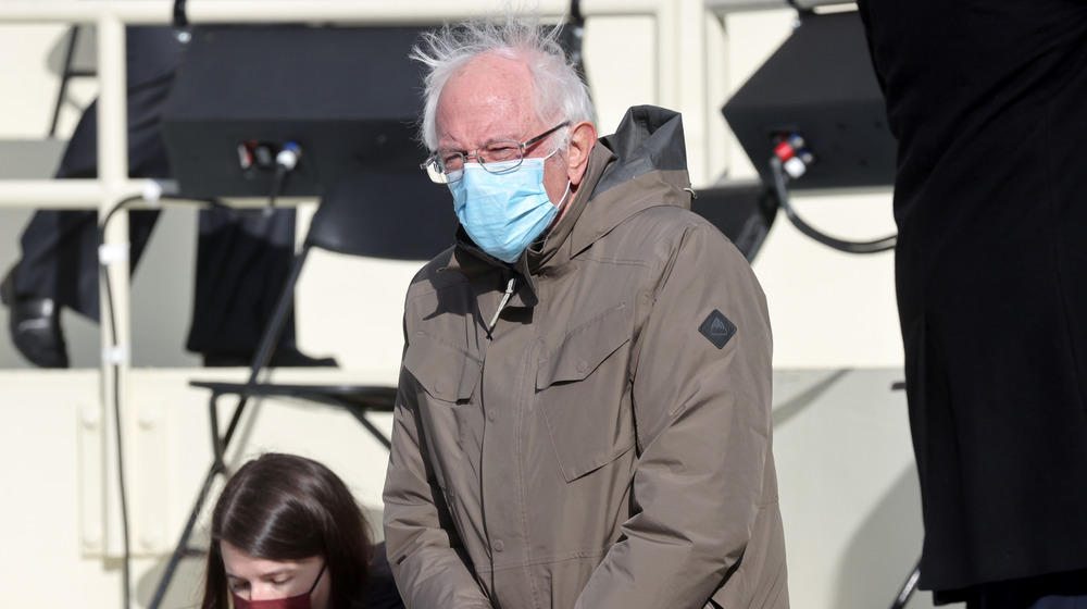 Senator Bernie Sanders in mask at the 2021 presidential inauguration