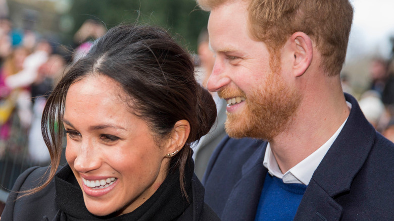 Meghan Markle and Prince Harry smiling in profile