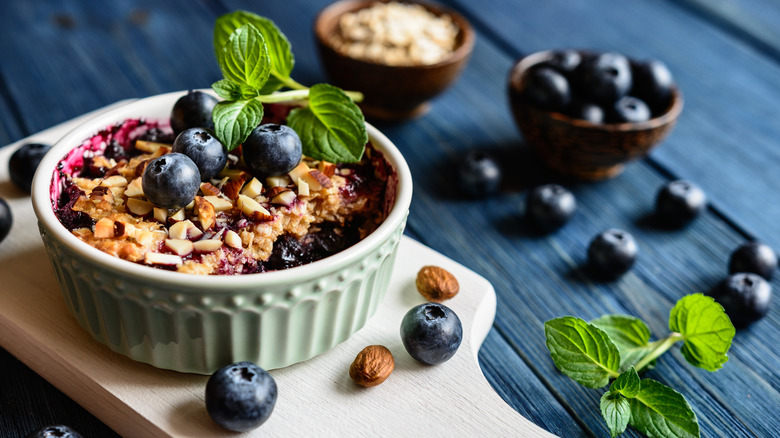 Blueberry crumble with extra blueberries