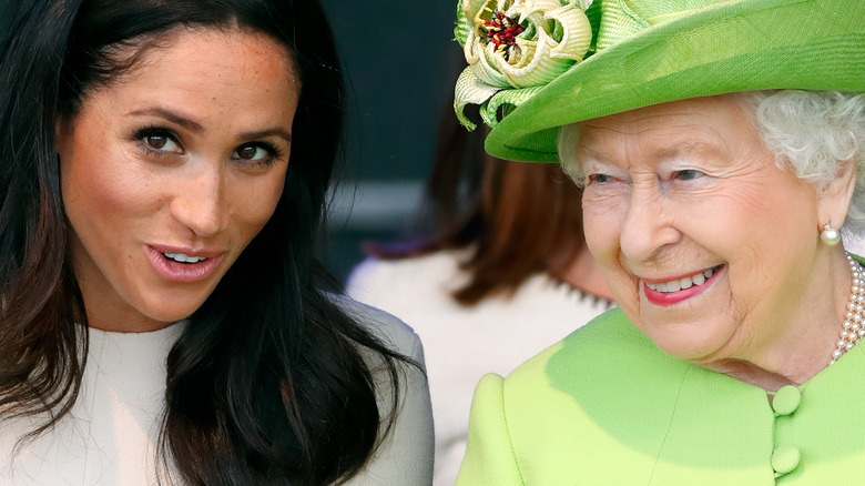 Meghan Markle and Queen Elizabeth bright green hat