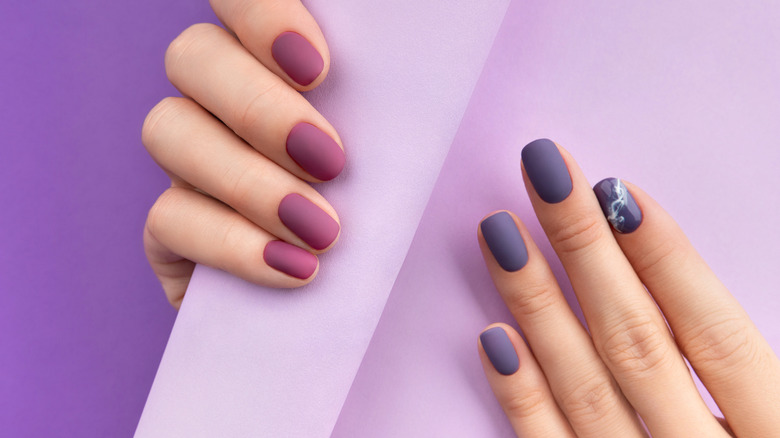 Purple and fuchsia Matte nails