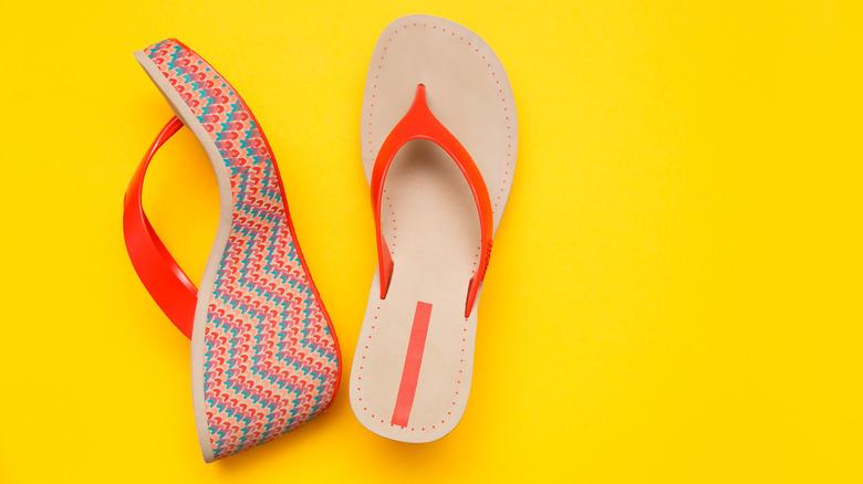 Platform sandals on yellow background