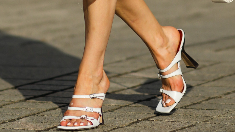 White high heeled sandals