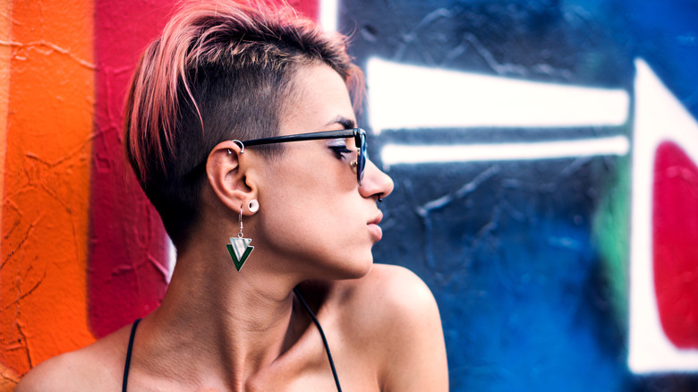 woman with pierced ear