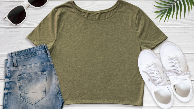 Crop top on table with shorts