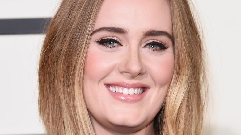 Singer Adele poses on the red carpet