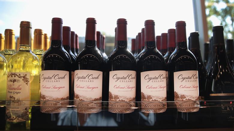 Bottles of Aldi wine