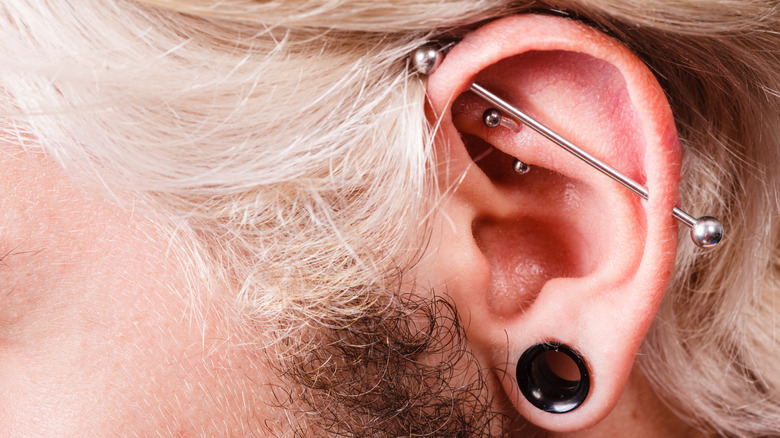 Man with industrial piercing