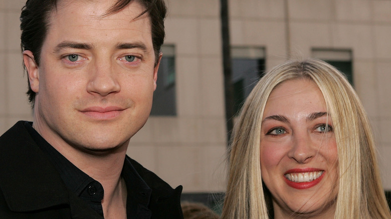 Brendan Fraser poses with former wife Afton Smith