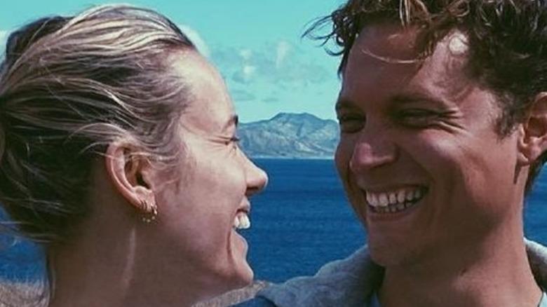 Brie Larson and Elijah Allan-Blitz laughing together