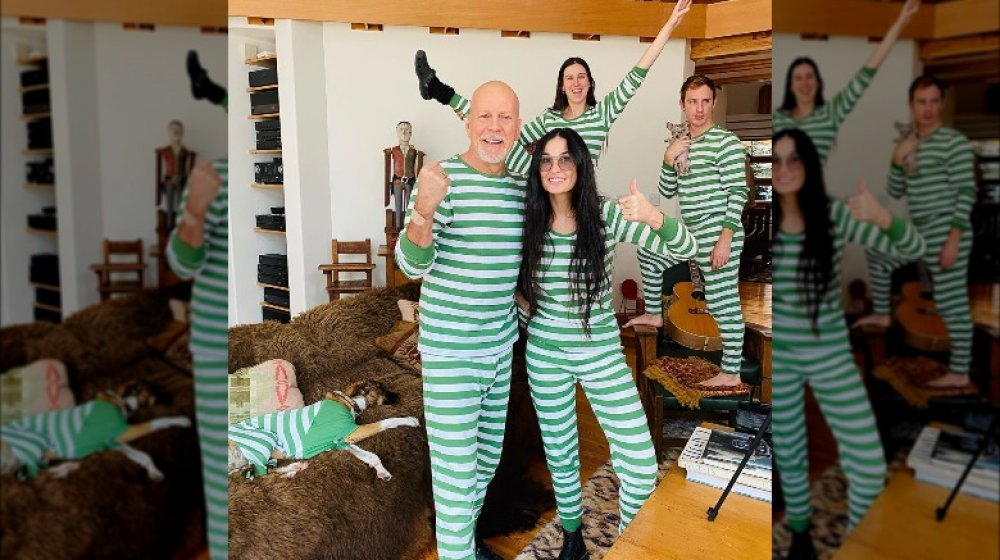 Bruce Willis, Demi Moore, and family