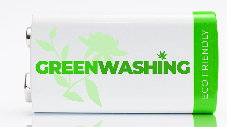 Green-washing printed on a battery