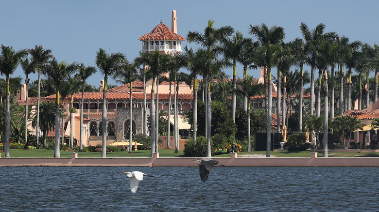 The exterior of Mar-a-Lago with waterfront