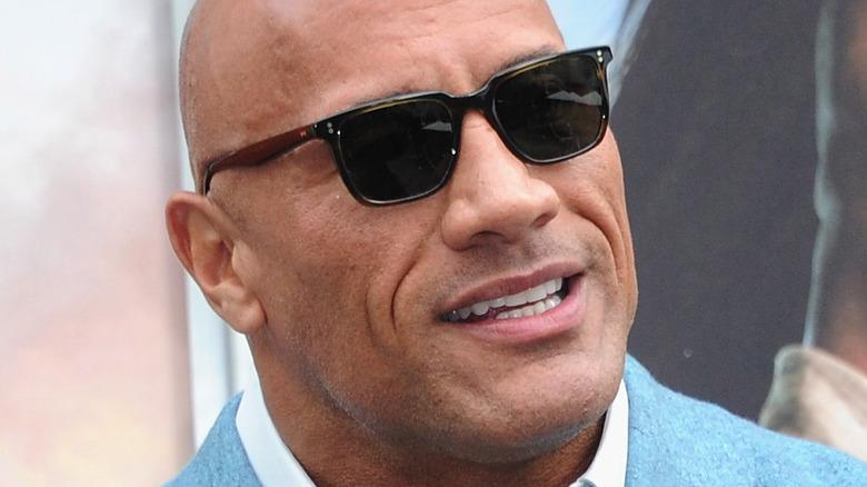 Dwayne Johnson wearing shades