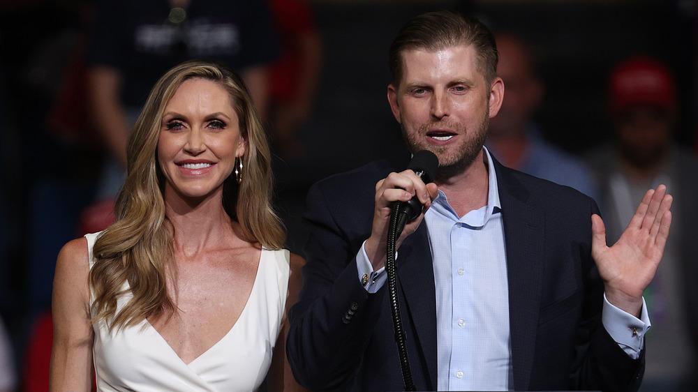 Eric and Lara Trump at a rally