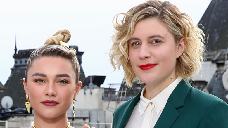 Florence Pugh and Greta Gerwig pose at a Little Women event