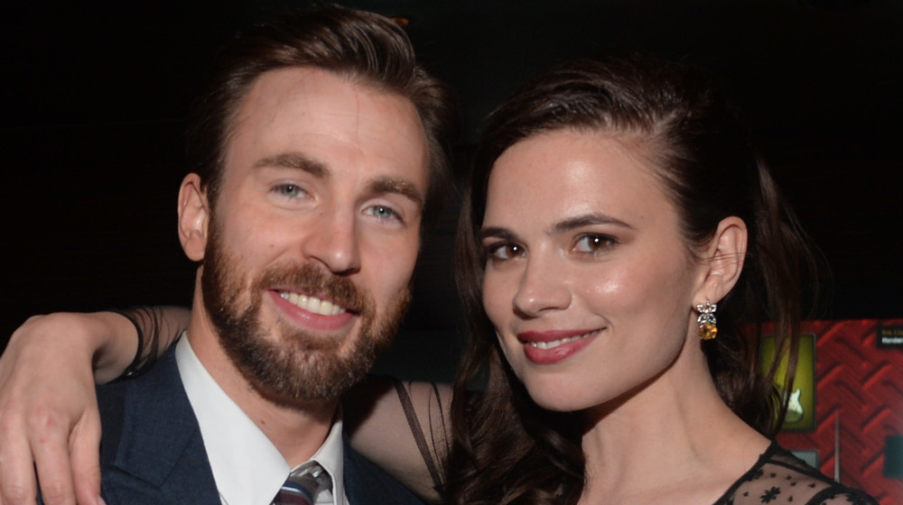 Chris Evans with Hayley Atwell smiling