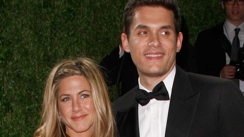 Jennifer Aniston and John Mayer smiling
