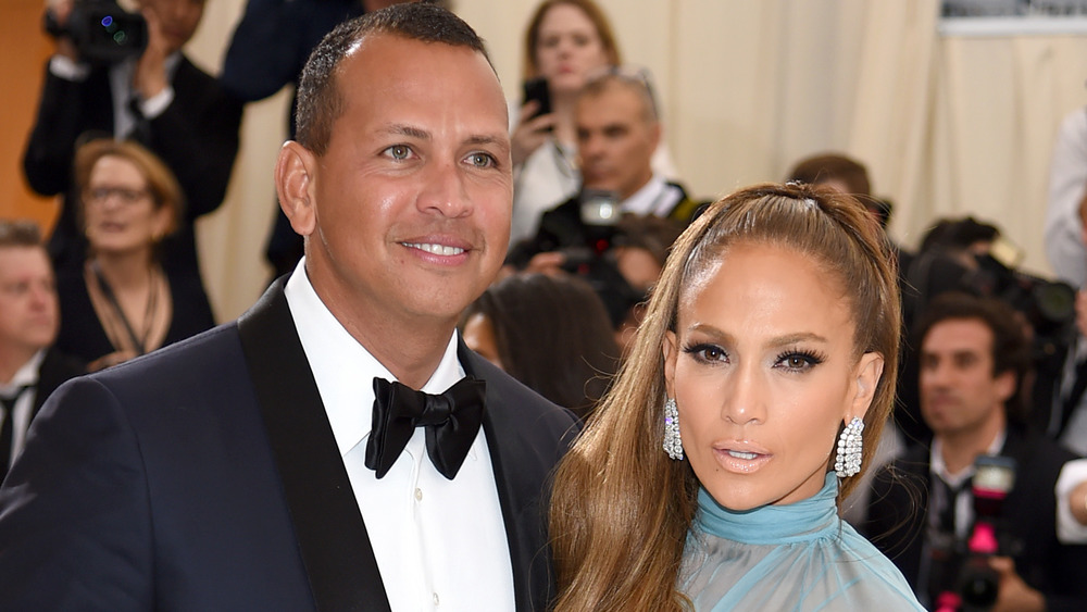 Jennifer Lopez and Alex Rodriguez at an art event in 2017
